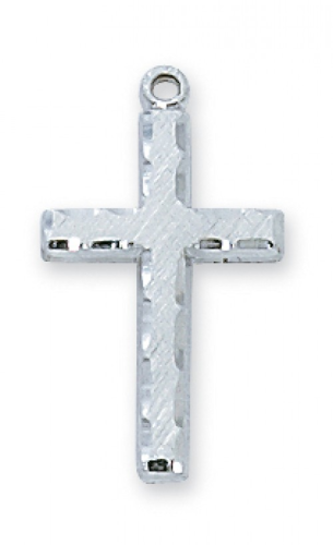 "Sterling Silver Edged Cross on an 18"" Rhodium Plated Chain"