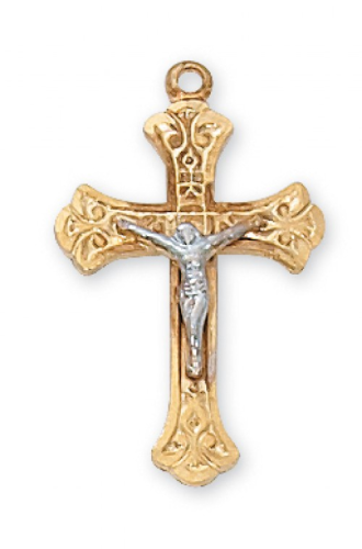 """Gold Plated Two-Toned Sterling Silver Fancy Crucifix on an 18"""" Gold Plated Chain"""