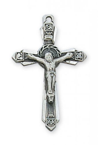 """Sterling Silver Detailed Crucifix on an 18"""" Rhodium Plated Chain"""