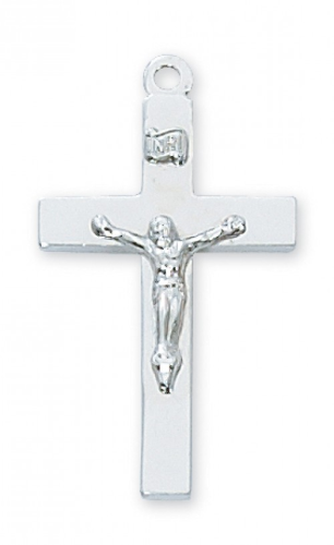 """Sterling Silver Plain Crucifix on a 20"""" Rhodium Plated Chain"""