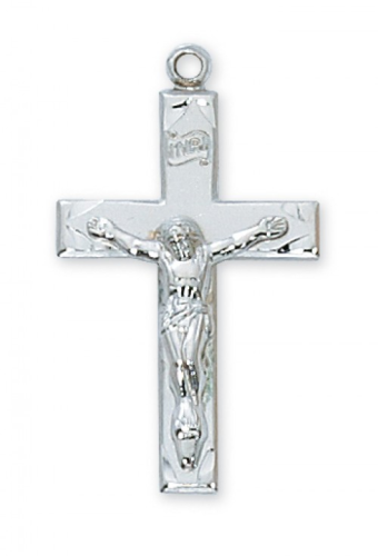 "Sterling Silver Medium Crucifix on a 20"" Rhodium Plated Chain"