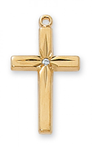 """Gold Plated Cross with CZ on an 18"""" Gold Plated Chain"""