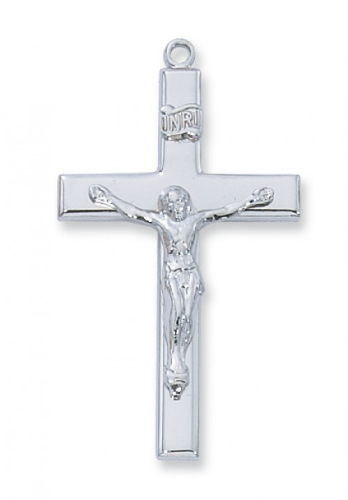 """Sterling Silver Plain Large Crucifix on a 24"""" Rhodium Plated Chain"""