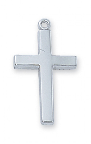 "Sterling Silver Plain Cross on an 18"" Rhodium Plated Chain"