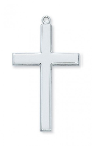 """Sterling Silver Large Plain Cross on a 24"""" Rhodium Plated Chain"""