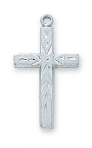 "Sterling Silver Etched Cross on an 18"" Rhodium Plated Chain"