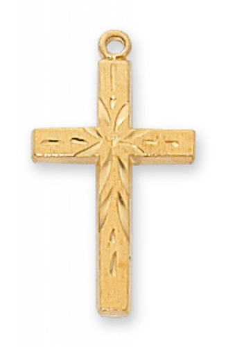 """Gold Plated Accented Cross on an 18"""" Gold Plated Chain"""