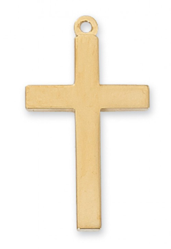 """Gold Plated Plain Cross on an 20"""" Gold Plated Chain"""