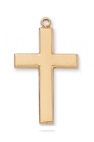 "Gold Plated Large Plain Cross on a 24"" Gold Plated Chain"