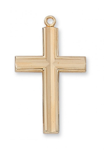 "Gold Plated Large Beveled Cross on a 24"" Gold Plated Chain"