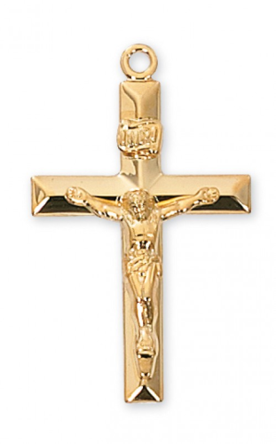 """Gold Plated Beveled Crucifix on a 24"""" Gold Plated Chain"""