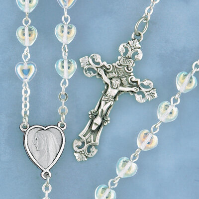 Crystal Heart Rosary with Sterling Silver Crucifix and Centerpiece
