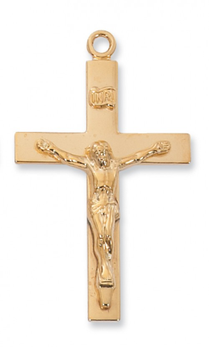 """Gold Plated Crucifix on a 24"""" Gold Plated Chain"""