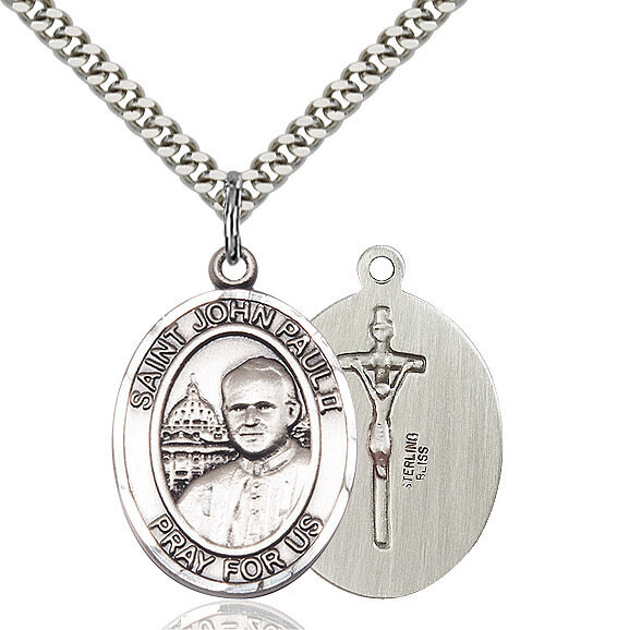 "Sterling Silver St. John Paul II Pendant on a 24"" Light Rhodium Heavy Curb Endless Chain"