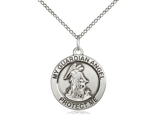 "Sterling Silver Round Guardian Angel Pendant on an 18"" Light Rhodium Curb Chain"