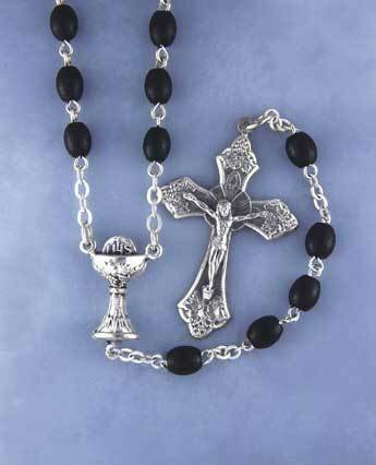 First Communion Rosary- Oval Black Beads