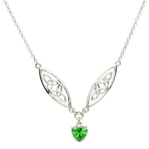 """Sterling Silver Celtic Stone Set Trinity Pendant & 18"""" Sterling Silver Chain"""
