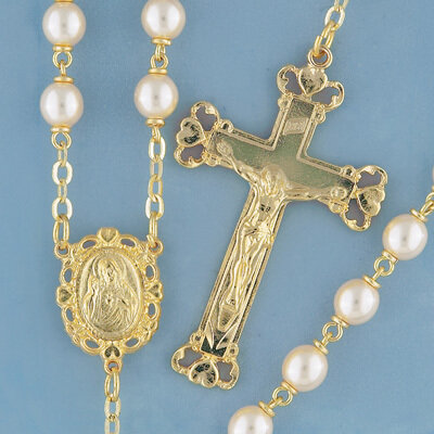 Goldplated Glass Pearl Rosary