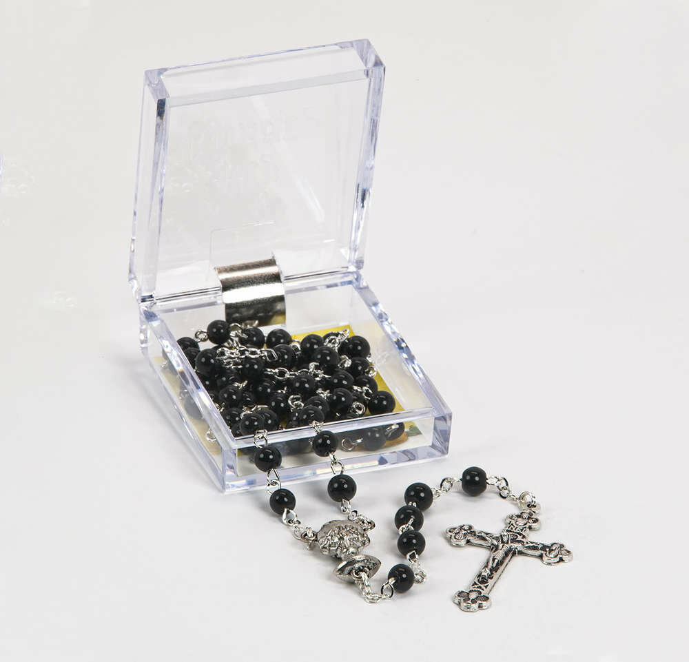 First Communion Rosary- 5mm Black Glass Beads