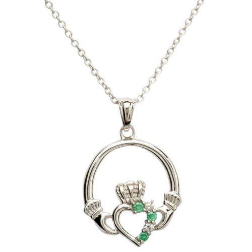 "Sterling Silver Claddagh Part Set Pendant & 18"" Sterling Silver Chain"