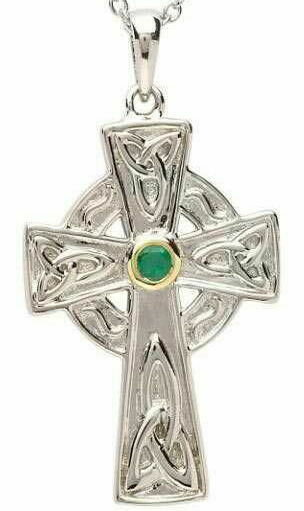 Sterling Silver Emerald Set Celtic Knot Design Celtic Cross with Gold Plate Detail & Chain