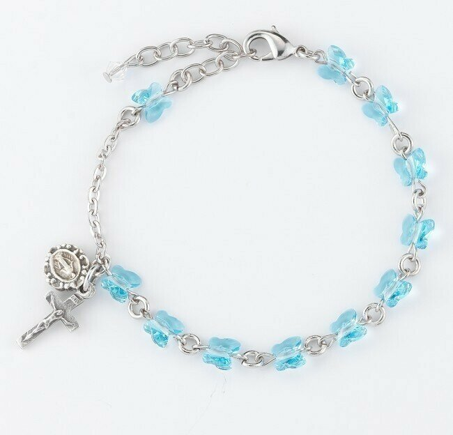 Youth Swarovski Crystal Aqua Butterfly Rosary Bracelet