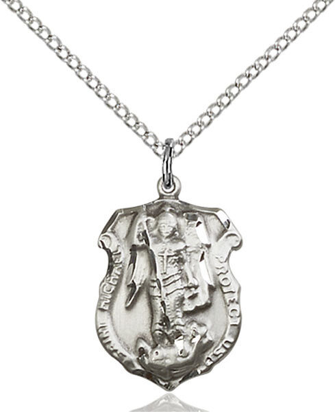 """Sterling Silver St. Michael Police Badge Medal (Medium Size) on a 18"""" Light Rhodium Chain"""