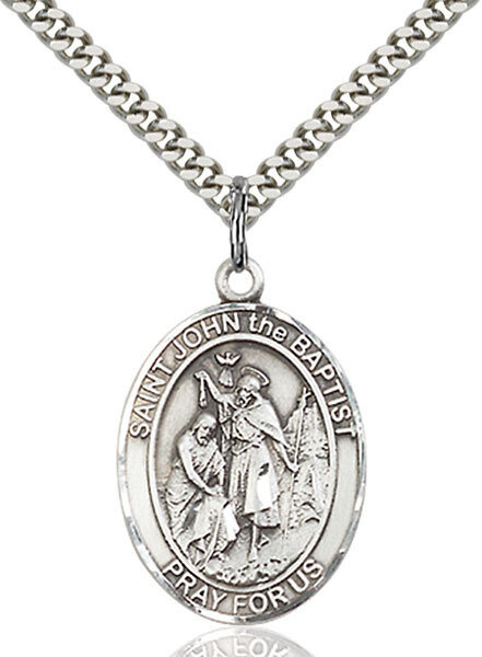 """Sterling Silver St. John the Baptist Pendant on a 24"""" Light Rhodium Heavy Curb Endless Chain"""