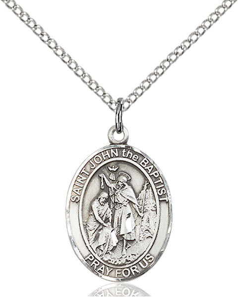 "Sterling Silver St. John the Baptist Pendant on a 18"" Light Rhodium Curb Chain with a Clasp"