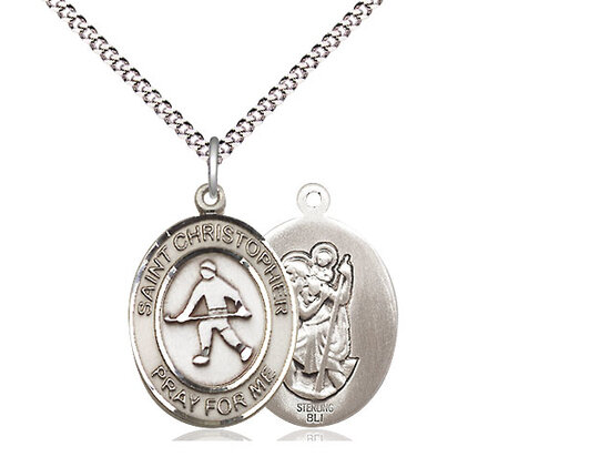 """Sterling Silver St. Christopher Field Hockey Sports Medal on a 18"""" Light Rhodium Chain"""