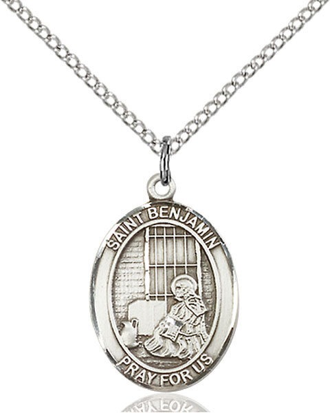 """Sterling Silver St. Benjamin Pendant on an 18"""" Light Rhodium Curb Chain with a Clasp"""