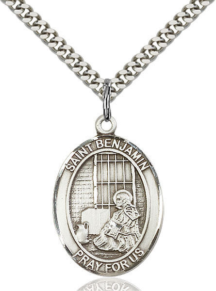 """Sterling Silver St. Benjamin Pendant on a 24"""" Light Rhodium Heavy Curb Endless Chain"""
