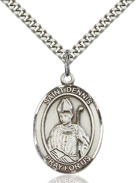 """Sterling Silver St. Dennis Pendant on a 24"""" Light Rhodium Heavy Curb Endless Chain"""