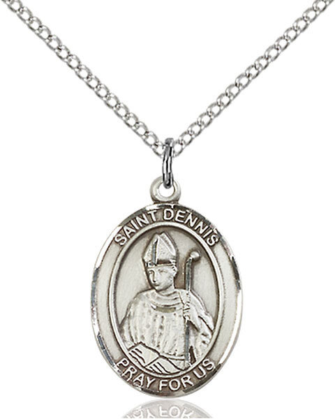 """Sterling Silver St. Dennis Pendant on an 18"""" Light Rhodium Curb Chain with a Clasp"""