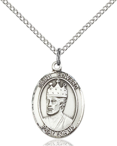 "Sterling Silver St. Edward the Confessor Pendant on an 18"" Light Rhodium Curb Chain with a Clasp"