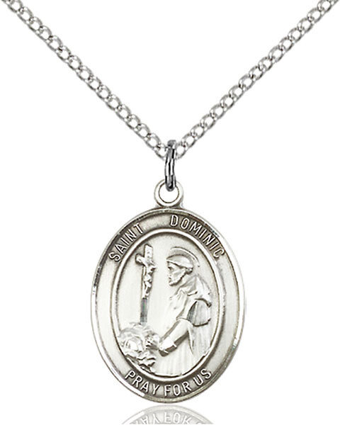 """Sterling Silver St. Dominic de Guzman Pendant on an 18"""" Light Rhodium Curb Chain with a Clasp"""