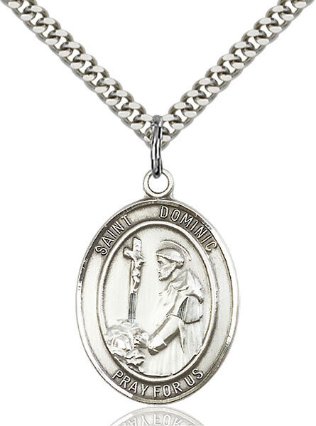 "Sterling Silver St. Dominic de Guzman Pendant on a 24"" LIght Rhodium Heavy Curb Endless Chain"