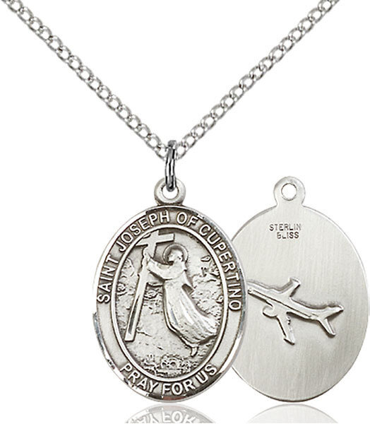 """Sterling Silver St. Joseph of Cupertino Pendant on a 18"""" Light Rhodium Curb Chain with a Clasp"""