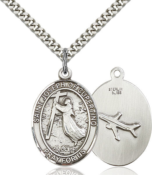 "Sterling Silver St. Joseph of Cupertino Pendant on a 24"" Light Rhodium Heavy Curb Endless Chain"