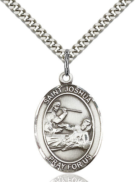 """Sterling Silver St. Joshua Pendant on a 24"""" Light Rhodium Heavy Curb Endless Chain"""