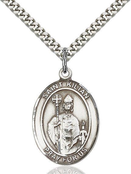 "Sterling Silver St. Kilian Pendant on a 24"" Light Rhodium Heavy Curb Endless Chain"