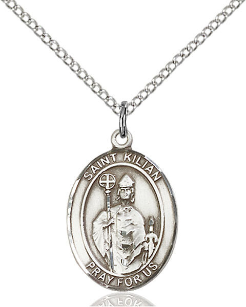 "Sterling Silver St. Kilian Pendant on an 18"" Light Rhodium Curb Chain with a Clasp"