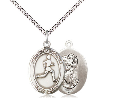 """Sterling Silver St. Christopher Track & Field Sports Medal on an 18"""" Light Rhodium Chain"""