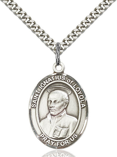 """Sterling Silver St. Ignatius of Loyola Pendant on a 24"""" Light Rhodium Heavy Curb Endless Chain"""