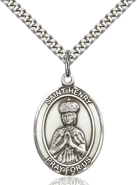 """Sterling Silver St. Henry II Pendant on a 24"""" Light Rhodium Heavy Curb Endless Chain"""