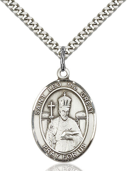 """Sterling Silver St. Leo the Great Pendant on a 24"""" Light Rhodium Heavy Curb Endless Chain"""