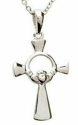 Sterling Silver Claddagh Cross & Chain