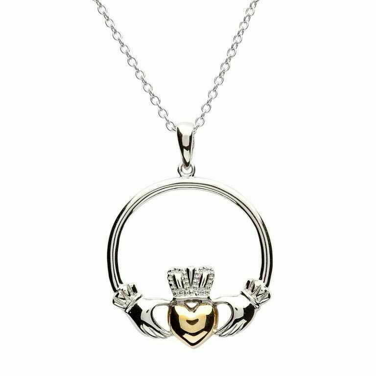 "Sterling Silver Claddagh Gold Plate Heart Pendant & 18"" Sterling Silver Chain"