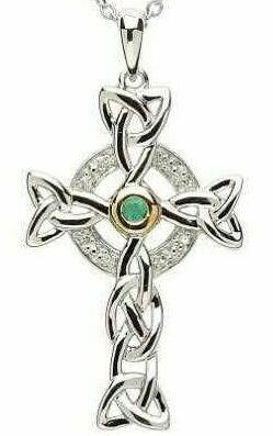 Sterling Silver Celtic Trinity Diamond & Emerald Cross & Chain