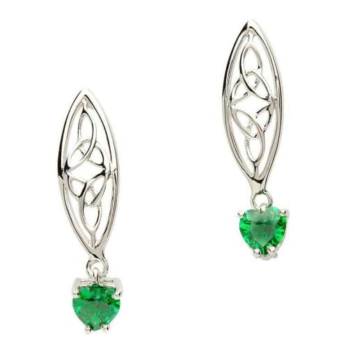 Sterling Silver Celtic Trinity Stone Set Earrings